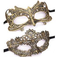 máscara de encaje dorado veneciano al por mayor-Mascarada Oro Púrpura Azul Máscara de encaje Recorte de Halloween Fiesta de baile Máscara Accesorios Máscara de ojo sexy Máscaras Venecianas Favor del partido