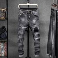 typen männer hosen großhandel-Männer Jeans Herbst Mode Slim-Typ Casual Denim Hosen 2019 New Mann Knopf Reißverschluss Tasche Loch Streetwear Denim Hosen