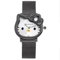 hellos kitty'yi izle toptan satış-Kedi Kuvars Hello Kitty İzle Kadınlar Lüks Moda Lady Kız Gümüş Paslanmaz Çelik Net Bant Sevimli Saatler Kristal Saat Altın