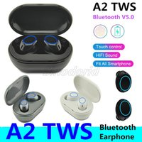Wholesale phone earbuds with microphone resale online - A2 TWS Mini Dual V5 Bluetooth Earphones True Wireless A2 Headsets D Stereo Sound Earbuds Dual Microphone With Charging box For All phones