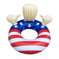 ingrosso bandiera galleggiante-Donald Trump Galleggianti Gonfiabili Stati Uniti Bandiera Nazionale Swim Circle Adulto Bambino Nuoto Anello Ispessimento Eco Friendly 45ss C1