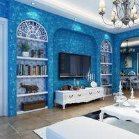 обои в средиземноморском стиле оптовых-Blue Style Mottle Средиземноморский Обои Ролл Home Decor Современный Сплошной Цвет обоев Для Гостиной Детская Стены Спальни