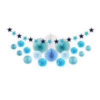 ingrosso lanterne di carta blu-20pcs Blue Party Decoration Kit Lanterne di carta / Ventole di carta Rosetta / Pom Pom Fiori / Stella Ghirlanda per Baby Shower Festa di compleanno