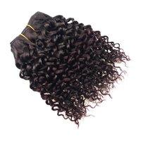 tone ombre kinky lockige haarverlängerungen großhandel-Peruanische Haar-Produkte 4 PC verworrene gelockte Welle Ombre Einschlag Bob 99j Menschenhaar-Erweiterungen Two Tone Burgundy Curly Wave