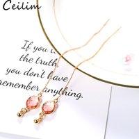 ingrosso gli orecchini di pietra colorati ciondolano-Orecchini a catena lunga in oro alla moda Orecchini a catena in resina colorata con filo in rame per accessori donna