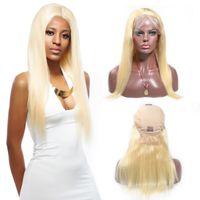 remy menschenhaar blonde seidig großhandel-Seidige gerade 613 Blonde Lace Front Echthaar Perücken 150% Dichte Indische Lace Front Remy Haar Perücke Pre Gezupft Favor Haar 8-24