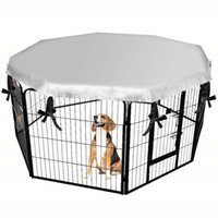 Wholesale folding dog houses for sale - Group buy Dog Cage Cover Outdoor Folding Pet Sun Shade Awning Rainproof Waterproof Anti escape Protective Cover Dog Cage Accessories E