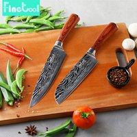 faca japonês conjunto venda por atacado-Faca de cozinha de 8 polegada Faca Do Cozinheiro Chefe de 7 polegada Santoku Faca de Aço Inoxidável 7CR17 Alta De Aço Inoxidável De Lixamento de Carbono Lidar Com 2 Conjuntos de Facas de Pc