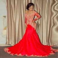 vestidos de baile afro-americano venda por atacado-Vestido de Baile Vintage Africano Americano Preto Meninas 'Sereia Red Applique Frisado Longo Vestidos de Noite Vestidos de Ba8551