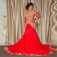 african american prom kleider großhandel-Vintage Afroamerikaner Schwarze Mädchen Abendkleid Mermaid Red Applique Perlen Lange Abendkleider Abschlussballkleider BA8551