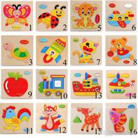cartoon hübsches puzzle tier großhandel-Kinder 3D Puzzles Holzspielzeug Für Kinder Cartoon Tier Verkehr Rätsel Intelligenz Kinder Frühe Lernspielzeug Ausbildung Spielzeug