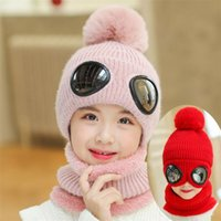Wholesale crochet pilot hats for sale - Group buy 2019 Short Plush Inlayer Knit Hat And Scarf Set Child Winter Warm Pom Pom Cap Scarves Kids Pilot Aviator Hat Girls T MZ8394