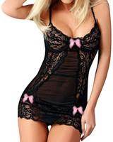 vestidos de sono de mulheres venda por atacado-Deslizamento Mulheres Sexy Lingerie Lace Lingerie Sleepwear Chemises completa Babydoll Nightgowns sexy sono vestido presente Chirstmas