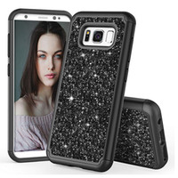 Wholesale dual case bling for sale - Group buy Glitter Bling Shock Proof Hybrid Case Dual Layer Protective Phone Case Cover for Samsung Galaxy S9 S9Plus S8 S8Plus