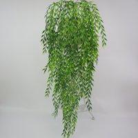 ingrosso piante artificiali da giardino pendenti-1 mazzo di 60 cm verde seta artificiale appeso a vite pianta salice lascia per la decorazione della parete esterna giardino di casa