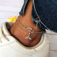 Wholesale sandals pendant resale online - Fashion Anklets chains For Women Beach Barefoot Sandals Foot Chains Jewelry fish tail wave Pendant multi layer Anklets Bracelet Footwear new