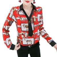 Wholesale horse women clothing for sale - Group buy Fashion Spring European Clothes V Neck Necktie Print Horse Blouse Women Chiffon Shirt Long Sleeve Ropa Mujer Tops T02514