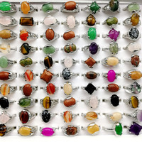 doğal gökkuşağı taşı toptan satış-Moda 30 Adet / grup Gökkuşağı Taş Yüzük Mix Stil Tasarımlar kadın Doğal Taş Yüzük Takı Hediye