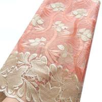 gele africano do lenço venda por atacado-Tecido de Renda africano 2019 Cordão de Alta Qualidade Nigeriano Tecido de Renda De Casamento Francês Tule Tecido de Renda Líquida Para Vestidos