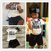 Wholesale wholesalers baby clothing online - 2019 Ins Baby Girls Clothing Sets Short Sleeve T shirt Sequins Shorts Headband Girls Outfits Summer Kids Clothes Set T A32104