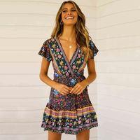 yaz plaj giysileri kadın bohem toptan satış-Yeni Yaz Bayan Bayan Kısa Kollu Bohemian Plaj Pileli Elbise V Yaka Sarkaç Çiçek Gündelik Elbise kadın Giyim S-XL