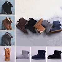 Wholesale women wedges boots brown resale online - 2019 WGG winter Australia Classic snow Boots fashion tall shoes real leather Bailey Bowknot women bow Knee Boots men shoes sneakers