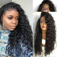 düz dalgalar saç toptan satış-Yumuşak en iyi güzellik pürüzsüz işlenmemiş remy virgin İnsan saç kadınlar için doğal renk uzun derin dalga tam ön dantel peruk