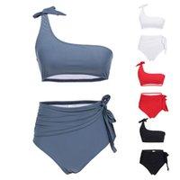 ingrosso cinturino in bikini-Womens Sexy Bikini a due pezzi Set Tie Knot Una spalla Bandeau Crop Top Tinta unita Swimsuit a vita alta con pieghe Cinturino con cintura