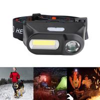 usb-aufladescheinwerfer großhandel-Scheinwerfer LED wiederaufladbare Laufscheinwerfer Mini XPE + COB LED Scheinwerfer USB Lade für Camping Lesen Wandern Licht ZZA441