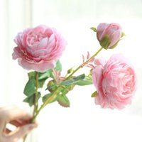buquê de peônia vermelha artificial venda por atacado-3 Cabeças de Flores de Rosa Branca Flores Artificiais Peônias Buquê Flores De Seda Vermelho Rosa Azul Falso Flor de Ano Novo Casamento Decoração de Casa
