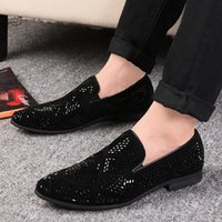 Wholesale black shining shoes for men resale online - LAISUMK Shining Rhinestone Decoration Fashion Loafer Shoes Men Pointed Toe Casual Flat Shoes for Wedding Party New