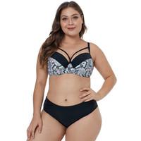 resumos recolhidos venda por atacado-Nova Divisão Swimwear Chique Impressão Costura Biquíni Peito Grande Reunidos Briefs Primavera Quente Fato De Banho jooyoo