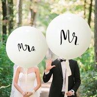 regalos de la fiesta del novio al por mayor-Día 36inch Sr Sra látex partido redondo globos decoración de boda con globos de San Valentín regalo novia y el novio Suministros apoyo de la foto