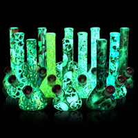 Wholesale pipe for hot water for sale - Group buy Glow in the dark beaker base water pipes hot selling printing silicone bongs for smoke unbreakable water pipe for smoking bongs