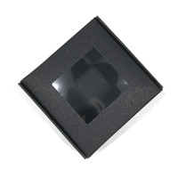 caixas de armazenamento de papel preto venda por atacado-30 Pcs de Varejo DIY Presentes Kraft Papercard Boxes Pacote de Papel Preto Caixas Quadradas Dobrável Caixa de Armazenamento De Jóias Artesanato para o Natal