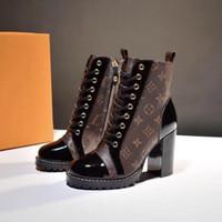 martin botları moda platformu toptan satış-Yıldız Trail Ayak Bileği Çizme Moda Lüks Desgner Kadınlar ayak bileği Çizmeler Moda Deri Kadınlar için Tıknaz Topuk Çizmeler Martin Kalın Taban Çöl Boot