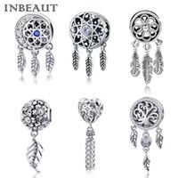 925 adet gümüş tüyü takılar toptan satış-% 100 Otantik S925 Rüya Net Şanslı Tüy Charm Pandora bilezik 925 Gümüş Vintage Çiçek Kalp kolye Boncuk uygun