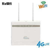desbloquear dispositivo sim venda por atacado-KuWfi 4G Wifi Roteador 3G / 4G LTE CPE Router Até 32users 150 Mbps Sem Fio para Homeoffice com Slot2pcs Cartão SIM Antenas