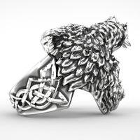 joyas de titanio oso al por mayor-POR el envío gratuito de acero inoxidable Viking Bear hombre anillo titanium punk Biker anillo Charm joyas anillos