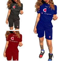 leoparddruck-shorts frauen großhandel-Frauen Champions Kurzarm T Shirt + Shorts Trainingsanzug Designer Sommer Outfit Brief Drucken 2 Stück Sportswear Jogger Set 2019 A3105