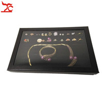 Wholesale cardboard earrings for sale - Group buy 100 Slots Velvet Sponge Ring Earring Display Box Black Cufflink Jewelry Storage Case Showcase Ring Necklace Display Tray With Clear Lid
