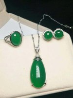 jade grüner silber ring großhandel-Natürliche grüne jade 925 ring silber halskette anhänger ohrringe set jade schmuck