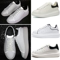 Wholesale girls cotton shoes online - Designer MReflective Luxury Brand white leather casual shoes girl women men black gold red pink fashion comfortable flat sneaker size