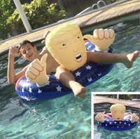 Wholesale inflatable cartoon toys online - Donald Trump Pool Float Summer Swimming Fun Inflatable Funny Pool Float Fun Water Toys inner diameter cm LJJK1182