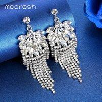 Wholesale bridal earrings red resale online - Mecresh Statement Silver Red Blue Long Tassel Earrings for Women Crystal Rhinestone Leaf Fringe Bridal Wedding Earrings MEH1506