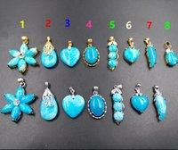 collier jade bleu doré achat en gros de-Nouveau coeur bleu Larimar jade colliers pendentif en alliage plaqué or 25x25mm