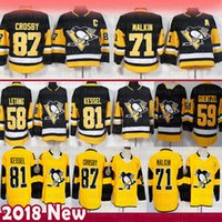 jerseys pingüinos al por mayor-Pittsburgh Penguins 87 Sidney Crosby Camisetas de hockey 58 Kris Letang 71 Evgeni Malkin 72 Patric Hornqvist 81 Phil Kessel 59 Jake Guentzel