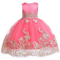robes de mariée princesse brodées achat en gros de-Enfants Filles Brodé Fille De Fleur Robes Formelle Princesse Robe De Fête Pour Enfants Robe De Bal De Mariage 3 4 5 6 7 8 9 10 Ans Y19061701