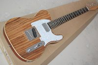 Wholesale natural wood color electric guitar for sale - Group buy Factory Natural Wood Color Electric Guitar with Zebra Wood Veneer White Pearl Pickguard Rosewood Fretboard Can be customized