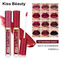 Wholesale velvet liquid lipstick resale online - kiss beauty Waterproof Batom Velvet Liquid Lipstick Sexy Red Lip Tint Color Lip Gloss Makeup Long Lasting Matte Nude Lipgloss Make up